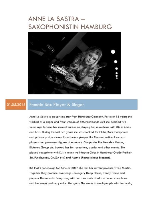 Ankuendigung Anne La Sastra mai 2018